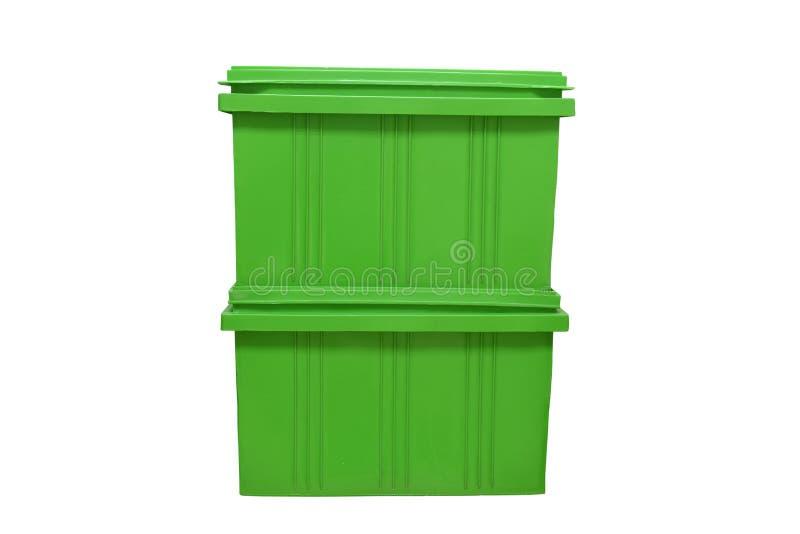 imballaggio verde della scatola di plastica del prodotto dei prodotti finiti su fondo bianco immagine stock libera da diritti