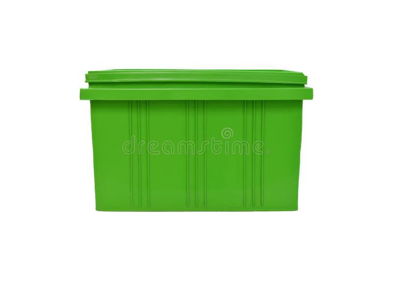 imballaggio verde della scatola di plastica del prodotto dei prodotti finiti su fondo bianco immagine stock