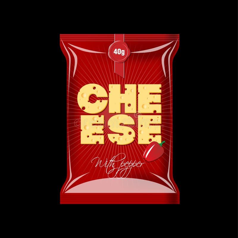 Imballando per il formaggio Belle lettere con una struttura del formaggio su una derisione rossa del pacchetto su illustrazione vettoriale