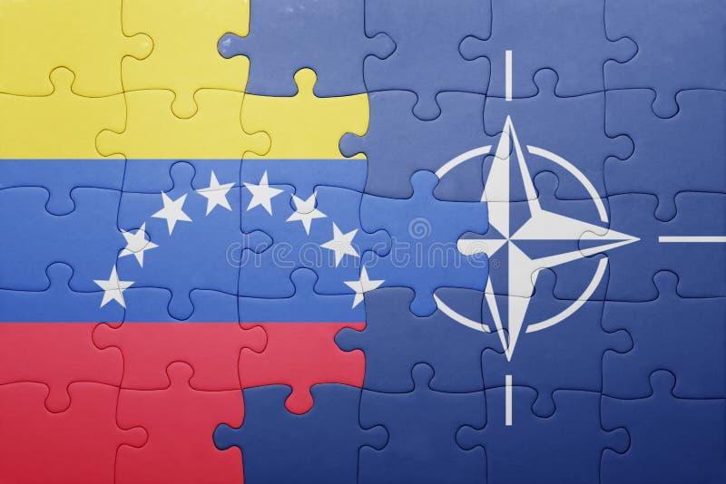 Imbarazzi con la bandiera nazionale del Venezuela e della NATO immagine stock libera da diritti