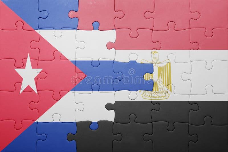 imbarazzi con la bandiera nazionale della Cuba e dell'egitto illustrazione vettoriale