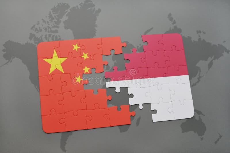 imbarazzi con la bandiera nazionale della porcellana e dell'Indonesia su un fondo della mappa di mondo illustrazione vettoriale