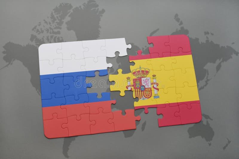 imbarazzi con la bandiera nazionale della Russia e della spagna su un fondo della mappa di mondo royalty illustrazione gratis