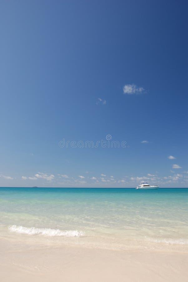 Imbarcazione a motore in acque tropicali immagine stock libera da diritti