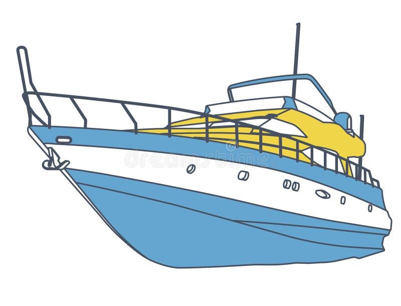Imbarcazione a motore gialla blu Yacht descritto del mare per pesca e tempo libero Motoscafo costoso di lusso illustrazione di stock