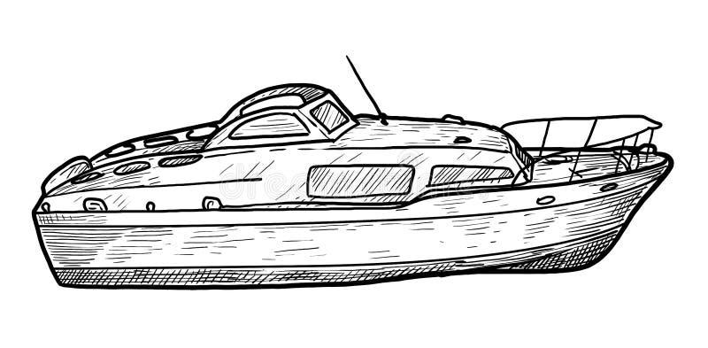 Imbarcazione a motore, velocità, illustrazione, disegno, incisione, inchiostro, linea arte, vettore illustrazione di stock