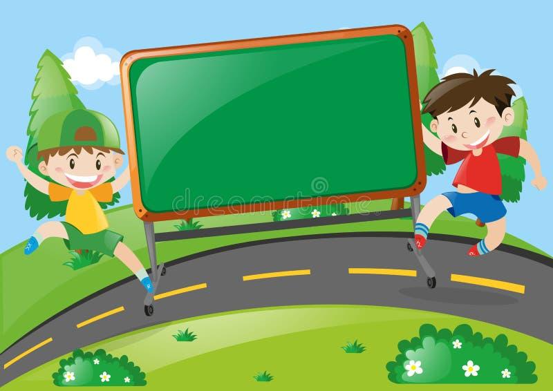Imbarchi sulla progettazione con due ragazzi sulla strada illustrazione di stock