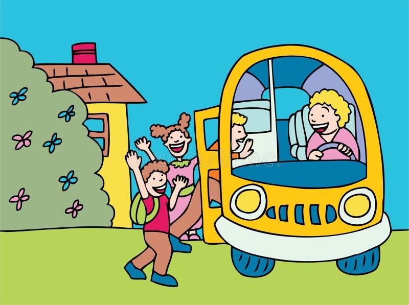 Imbarco del bus illustrazione di stock