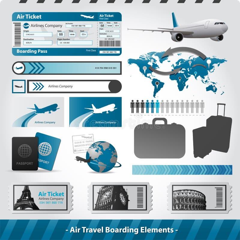 Imbarco di volo degli elementi di progettazione di viaggio æreo illustrazione vettoriale