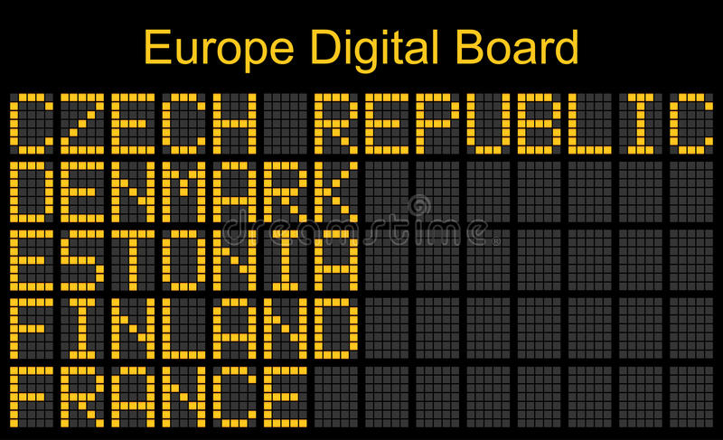 Imbarco digitale dell'aeroporto di Europa illustrazione di stock