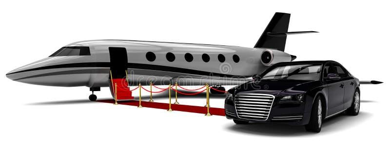 Imbarco privato dell'aeroplano sul tappeto rosso illustrazione di stock