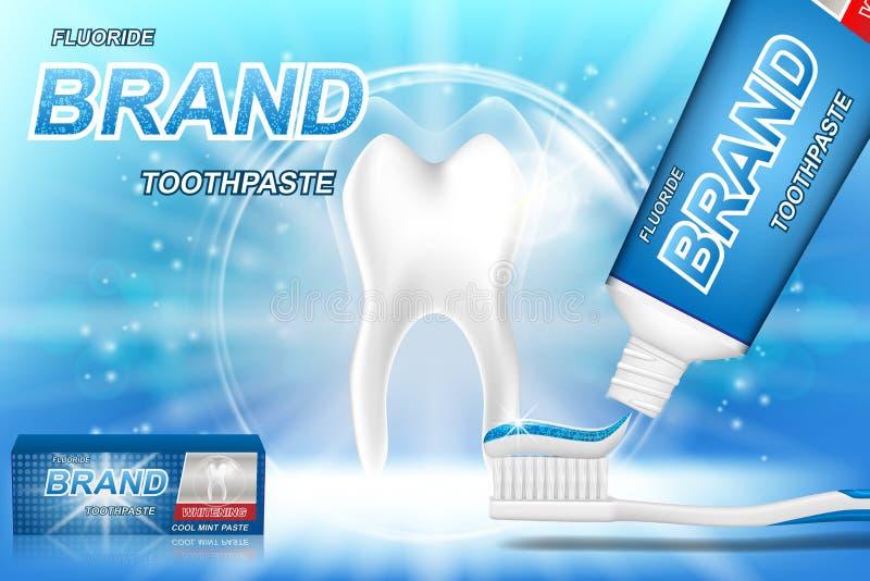 Imbiancatura degli annunci del dentifricio in pasta Modello del dente e progettazione di pacchetto del prodotto di cure odontoiat illustrazione vettoriale