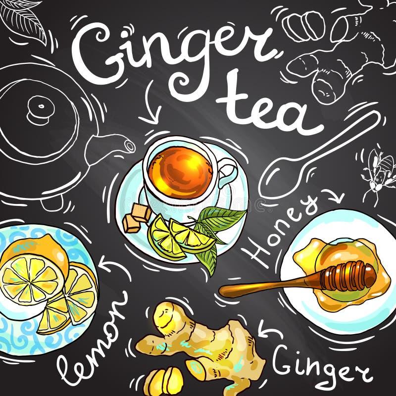Imbirowa herbata ilustracji