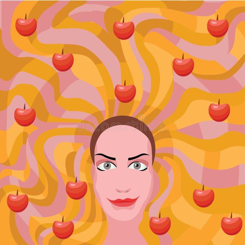 Imbirowa kobieta z jabłkami w włosy royalty ilustracja
