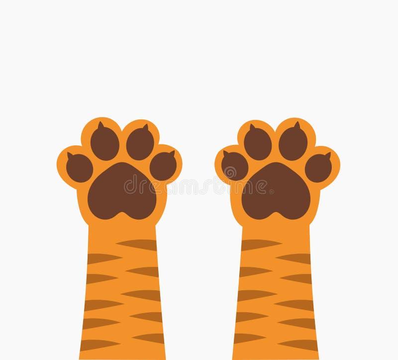 Imbirowe tygrysiego kota łapy w górę ilustracja wektor