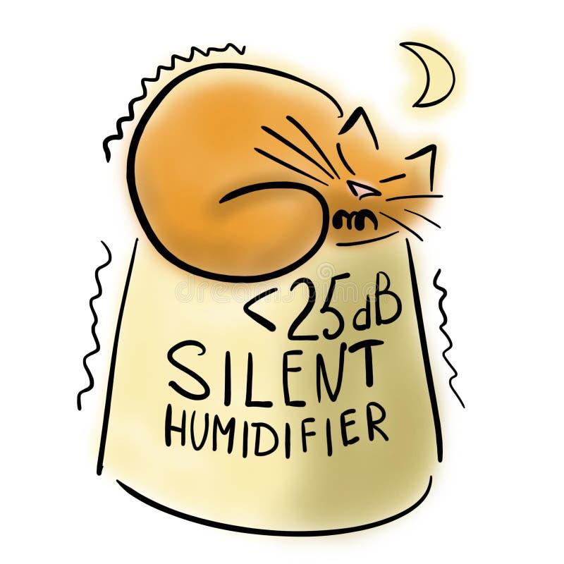 Imbirowy kot i cichy nawilżacz ilustracji