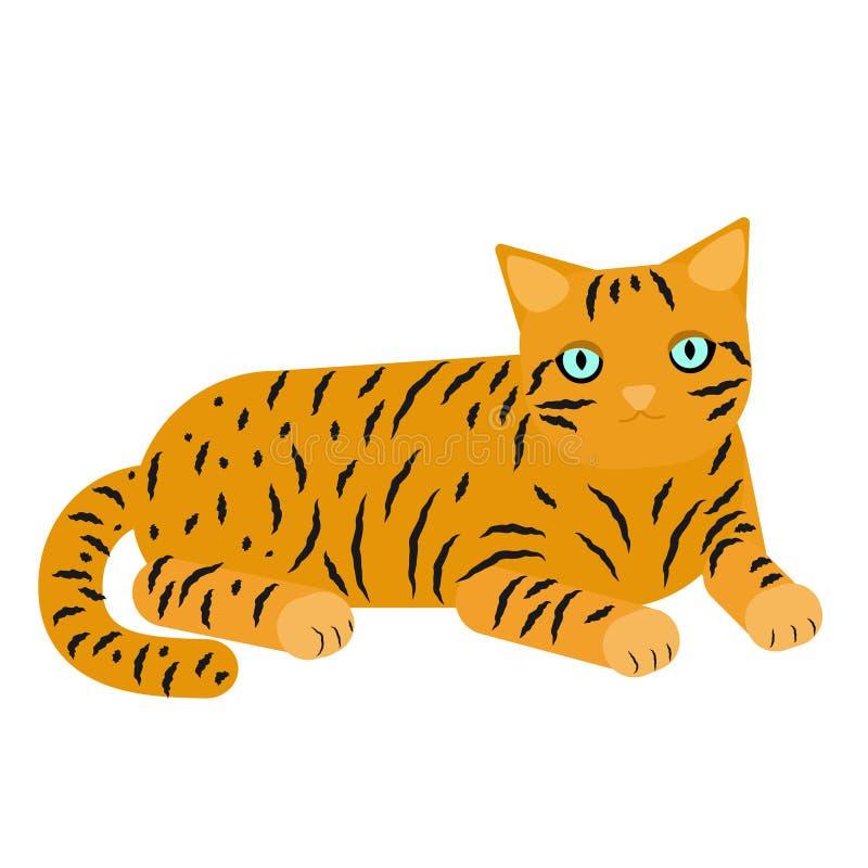 Imbirowy kot z lampasami na bia?ym tle Kot?w k?amstwa, odpoczynki r?wnie? zwr?ci? corel ilustracji wektora royalty ilustracja