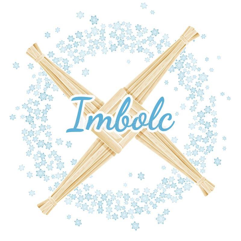 Imbolc Brigid Cross tecken Börja av hednisk ferie för vår i en krans av snöflingor Vektorvykort royaltyfri illustrationer