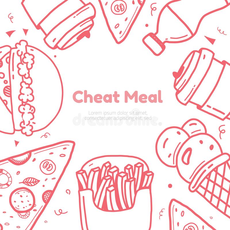Imbrogli la carta del manifesto del giorno con la linea hamburger di arte, la tazza e le fritture, progettazione pulita del gelat illustrazione di stock