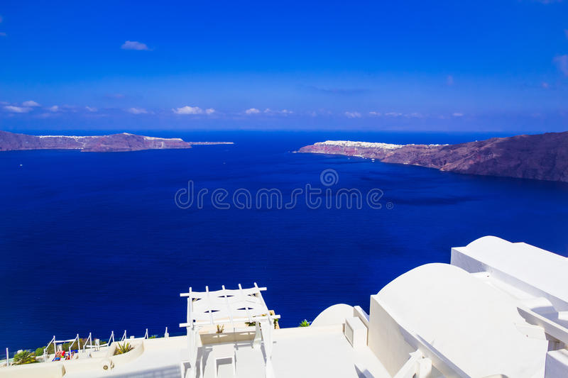 Imerovigli caldera view towards Oia, Santorini, Greece royalty free stock photography
