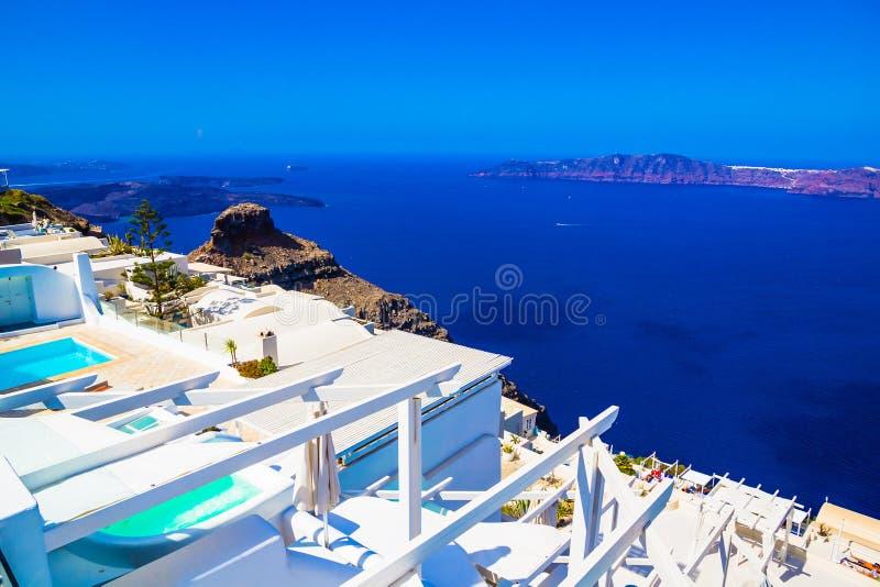 Imerovigli calderasikt, Santorini, Grekland royaltyfria foton