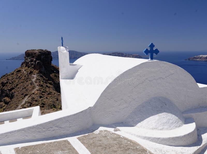 Imerovigli kyrka, Santorini royaltyfria bilder
