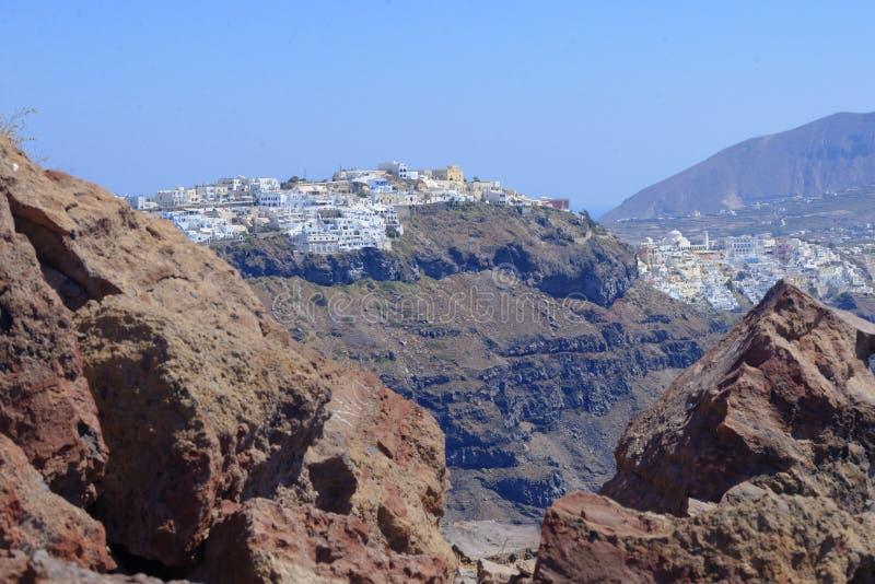 Imerovigli by på Santorini royaltyfria foton