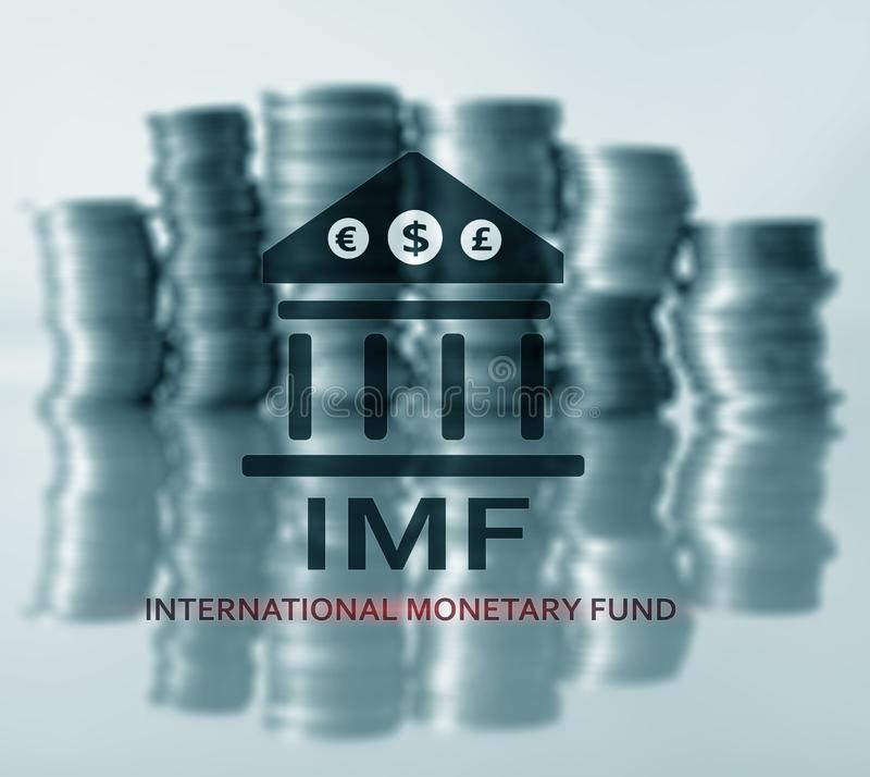 IMF Международный Валютный Фонд Принципиальная схема финансов и банка стоковые фото