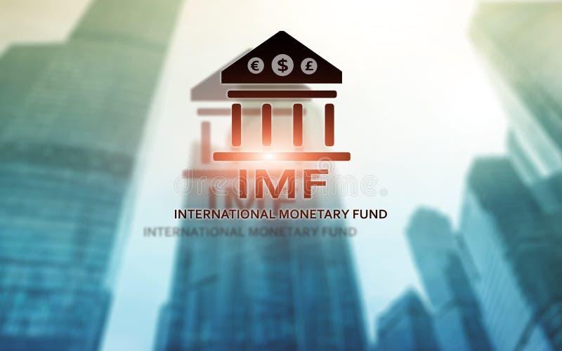 IMF Международный Валютный Фонд Финансы и концепция кренить иллюстрация вектора
