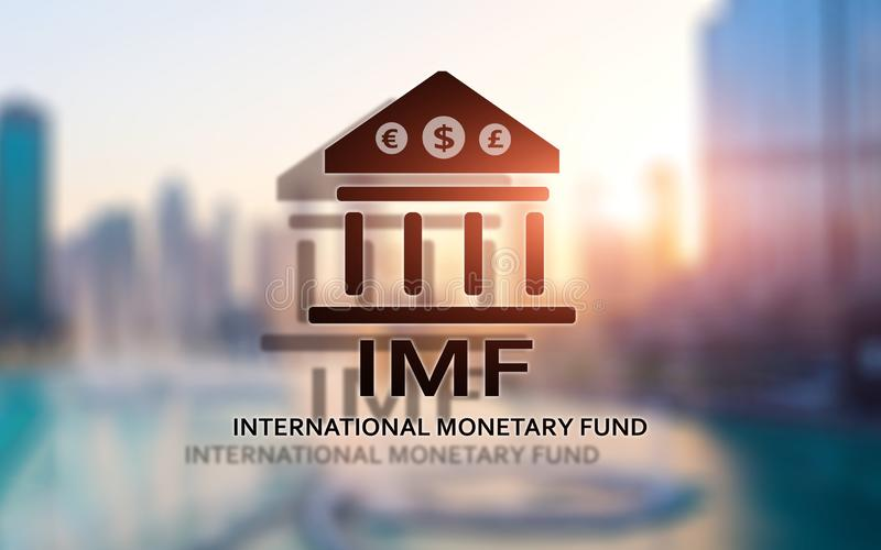 IMF. International Monetary Fund. Finance and banking concept. royalty free illustration