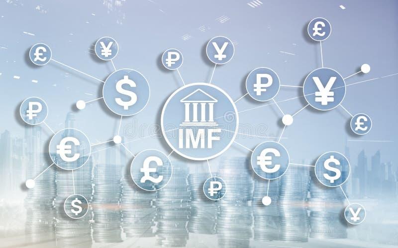 IMF International monetary fund global bank organisation. Business concept on blurred background. vector illustration