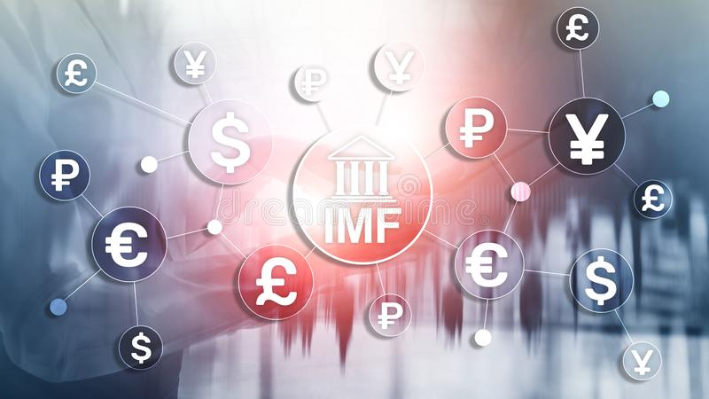 IMF International monetary fund global bank organisation. Business concept on blurred background. royalty free illustration