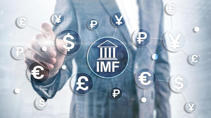 IMF International monetary fund global bank organisation. Business concept on blurred background. royalty free stock images
