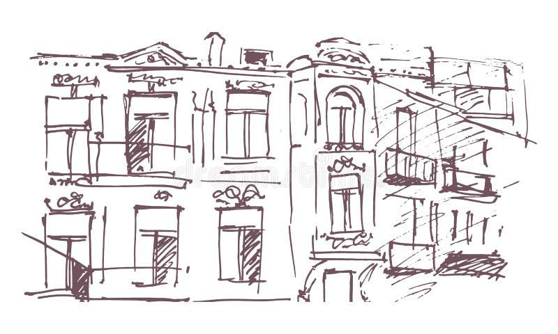 Urban sketching. Hand drawn illustration for your design. Old building. City landscape stock illustration