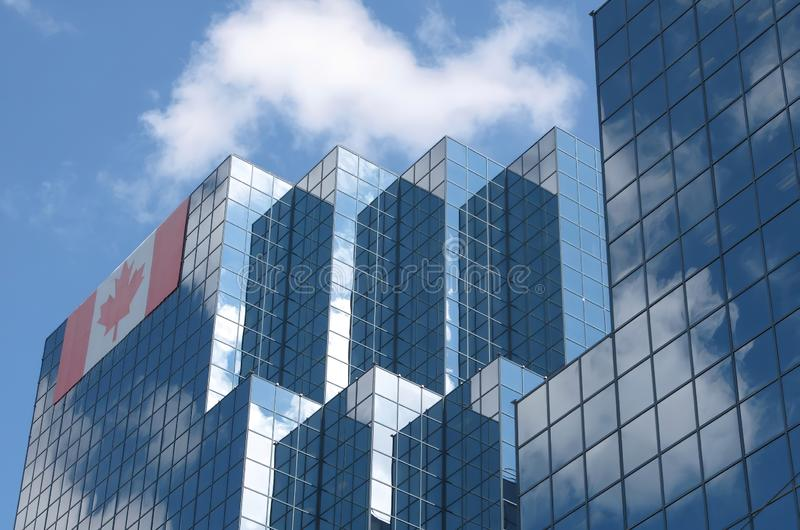 Buildings with Canada flag stock photo