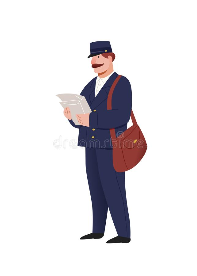 Postman. Character illustration isolated on white background. People vector illustration. royalty free illustration