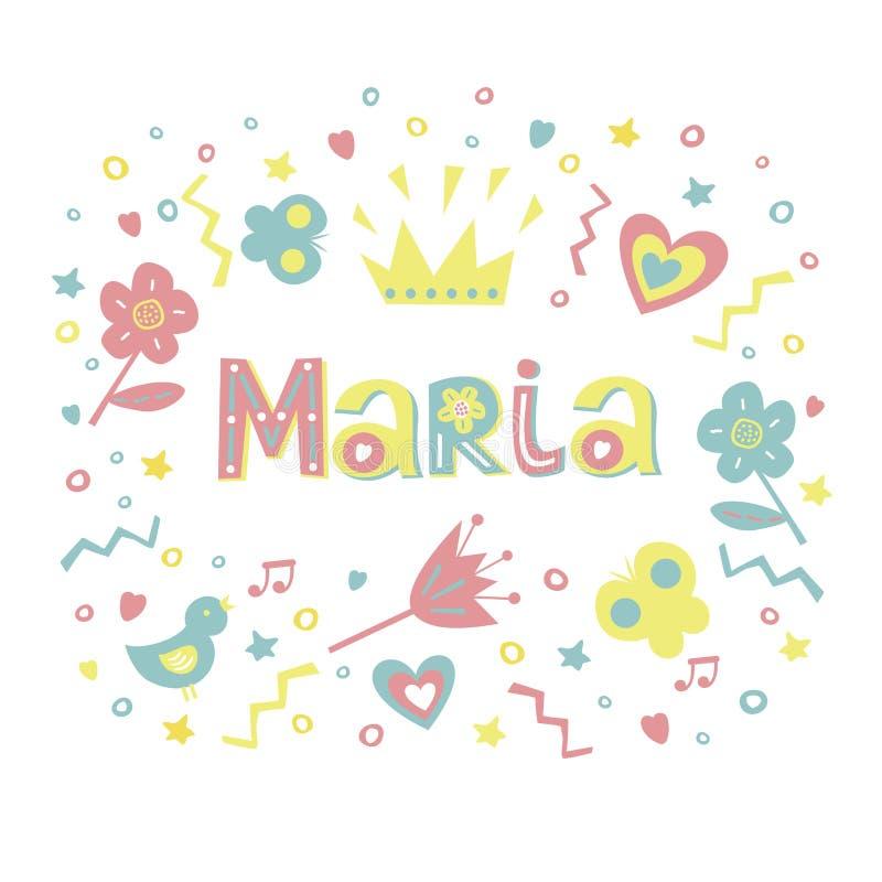 Imię MARIA pisać w ładnej chrzcielnicie otaczającej kwiatami, serca, motyle ilustracja wektor