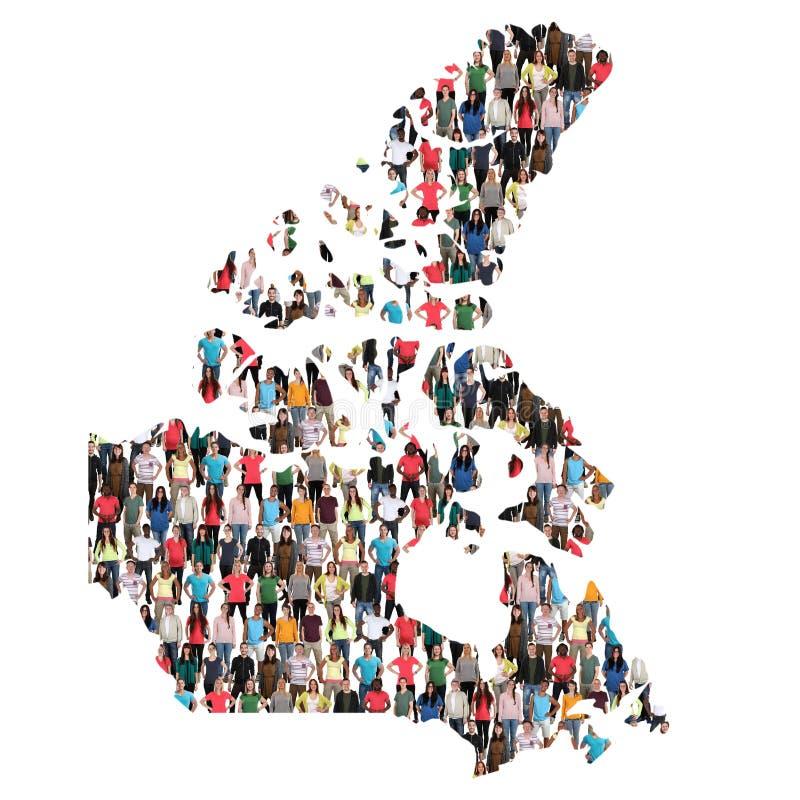 Imigração multicultural da integração do grupo de pessoas do mapa de Canadá fotografia de stock royalty free