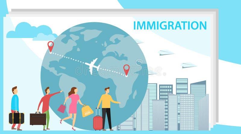 imigracje Mini ludzie migrują kraje rozwinięci Pojęcie migracja ludzie przeciw tłu royalty ilustracja