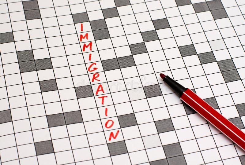 imigracje Tekst w crossword list czerwony zdjęcie stock