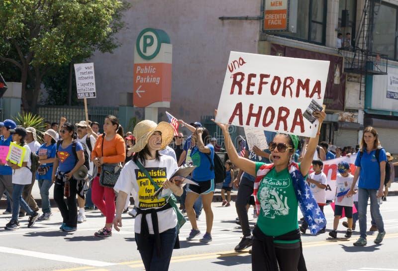 Imigracyjnej reformy wiec w Stany Zjednoczone zdjęcie stock