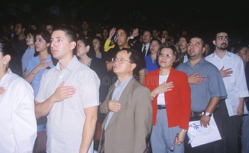 Imigranci Bierze przyrzeczenie hołdownictwo, Los Angeles, Kalifornia obrazy stock