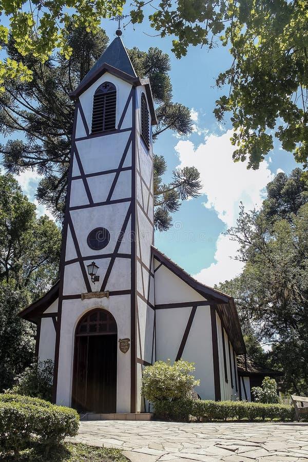 Imigrująca kaplica w Imigrującym parku w nowa Petropolis, rio grande robi Sul, Brazylia obrazy royalty free