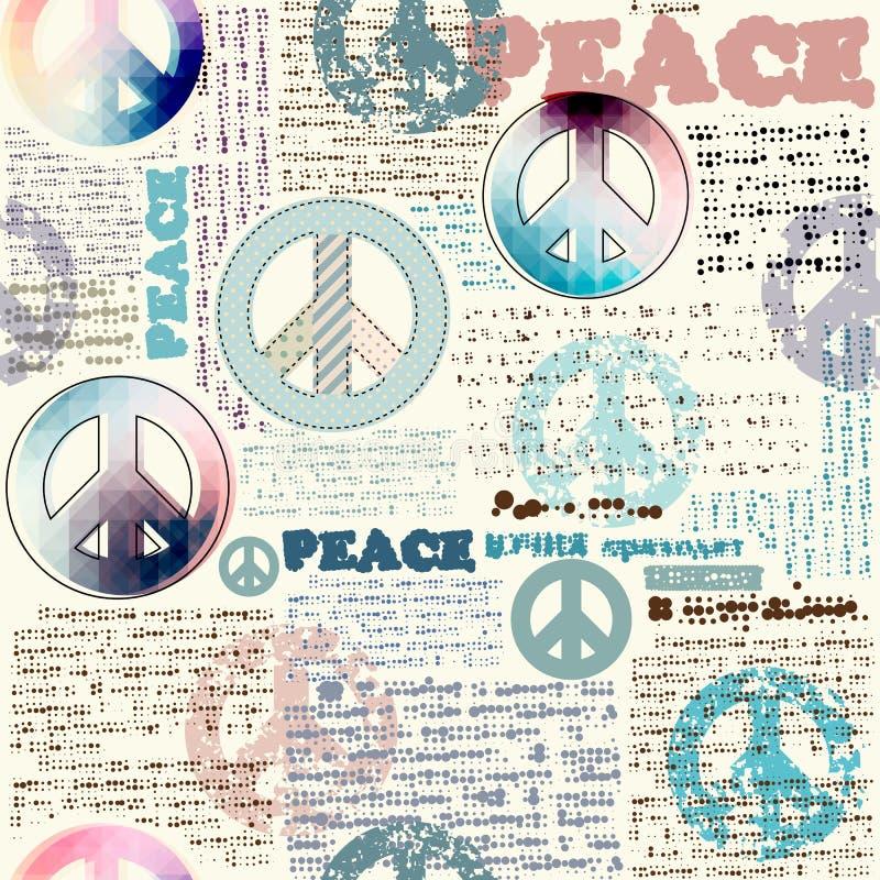 Imitação do jornal do grunge com símbolos pacíficos ilustração do vetor