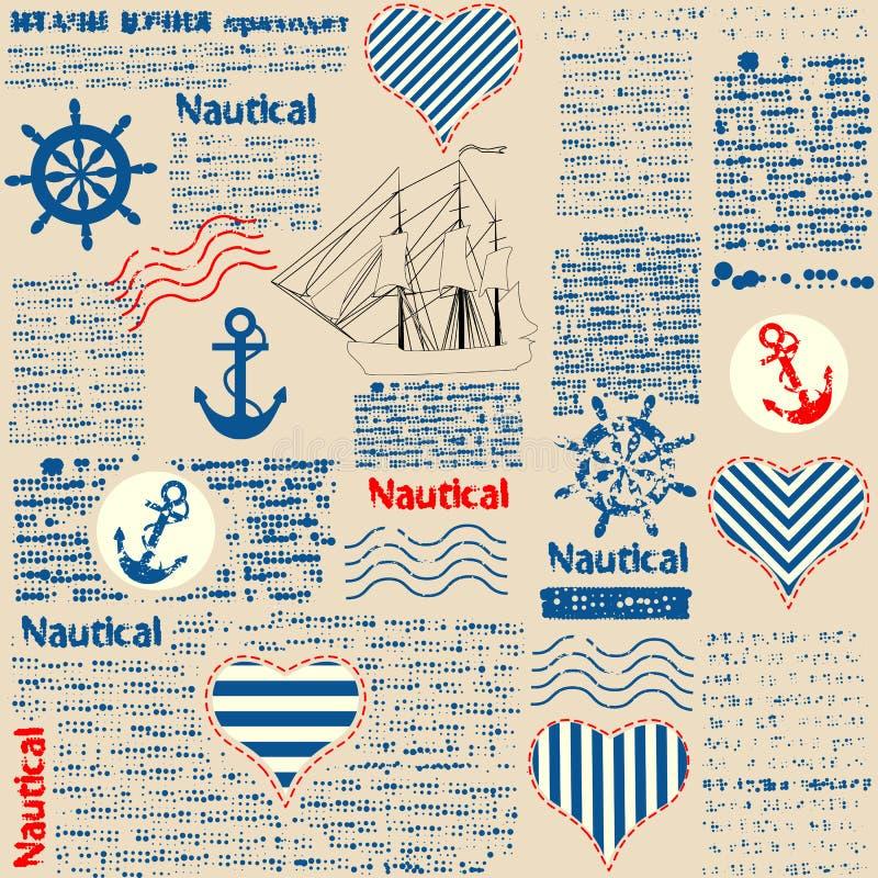 Imitação do jornal no estilo náutico com ilustração royalty free