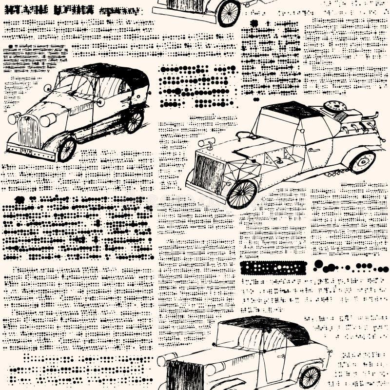 Imitação do jornal retro com carros. ilustração royalty free