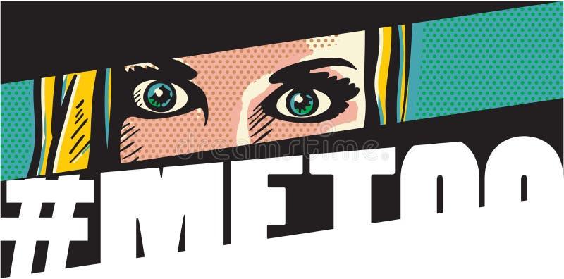 imitación Bandera imitación del estilo del arte pop del movimiento con la cara de la mujer stock de ilustración