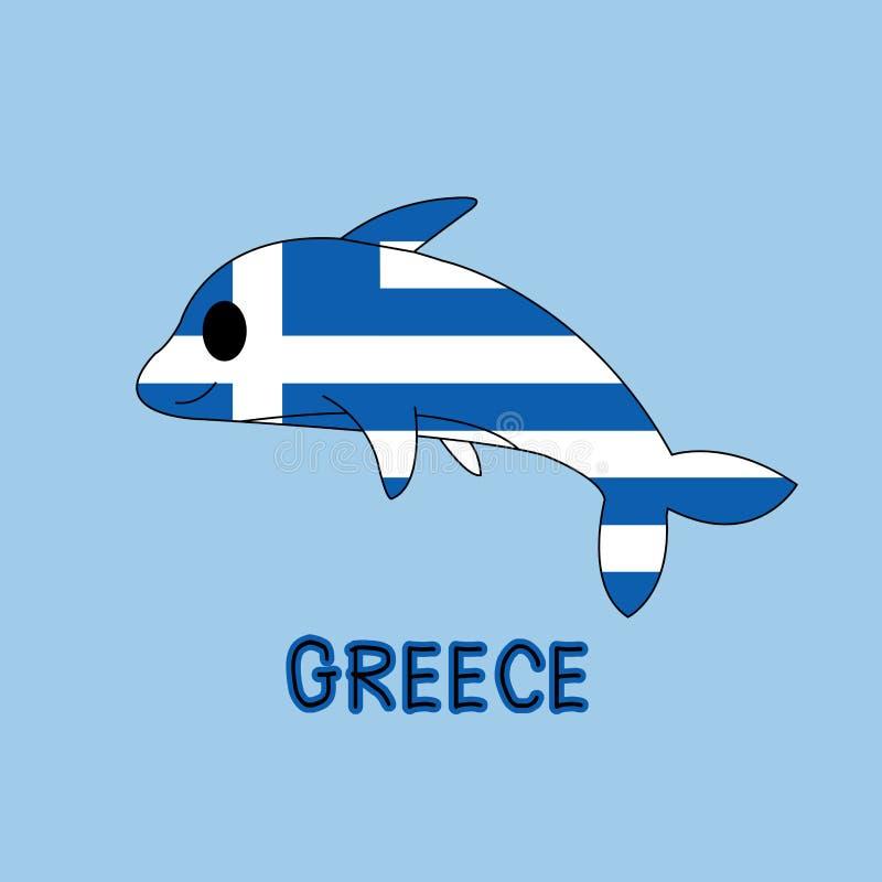 Imitación del color de la bandera con los delfínes, animal nacional de Grecia imagen de archivo