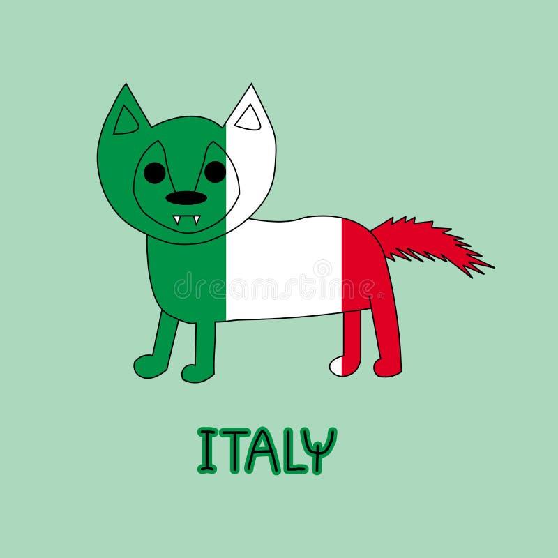 Imitación del color de la bandera de Italia con el lobo, animal nacional fotografía de archivo