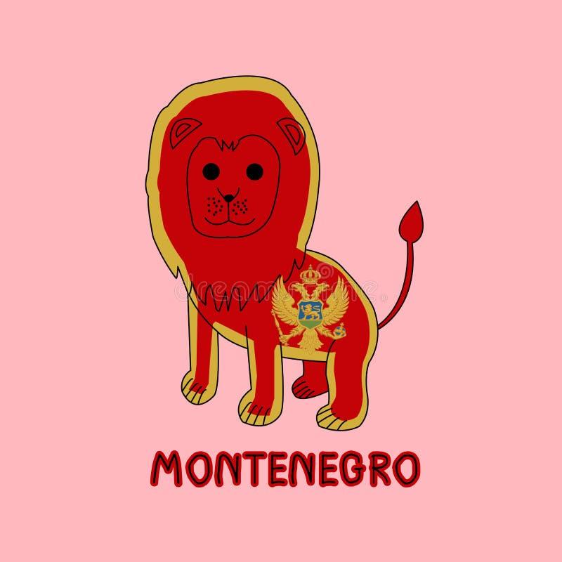 Imitación del color de la bandera de Montenegro con el león, animal nacional fotografía de archivo libre de regalías